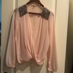 Light pink blouse/sequin accents